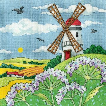 Heritage Crafts Karen Carter Collection Cross Stitch Kit - Windmill  Landscape